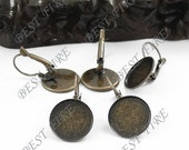 10pcs Antique Solid Brass French Earwires Hook With Round (Inside Diameter 14mm Pad)