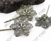 10pcs of Antique Bronze bobby pins flower filigree pad 69mm perfect