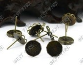 20pcs Antique Solid Brass Earring Posts With Round Cabochon size 14mm