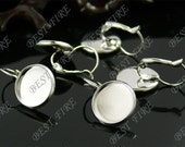 20pcs platina tone Brass French Earwires Hook With Round 14mm Pad,Earrings hook,earrings base