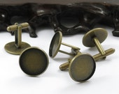 12pcs Antique Brass Pad  Round sleeve button Base 20mm (Cabochon Size:18mm)