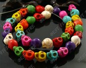 8x10mm Carved Skeleton Rainbow Mixd Turquoise Skull stone Beads,Loose strands beads 15.5inch