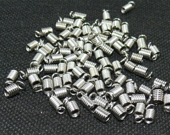 20 PCS Gunmetal Coil Ends For Leather, Suede, and Cords 4X6MM