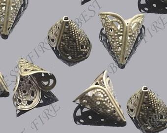 24 pcs of Antiqued brass filigree cone bead cap 15x16mm