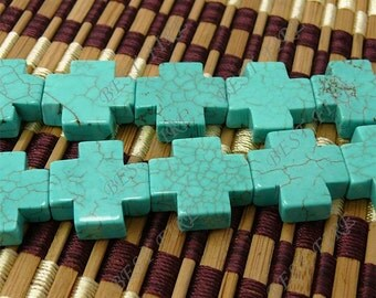 Turquoise cross stone full strand 20mm