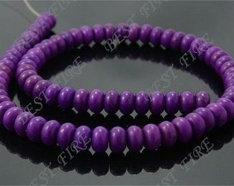 5x8mm Rondelle Dyed Purple Turquoise loose beads