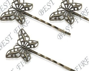 12pcs of Bronze bobby pins Butterfly  filigree pad