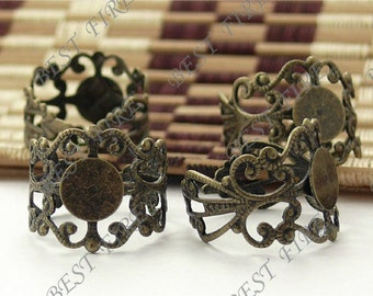10pcs Antique Brass Pad Adjustable RING Base,ring pad bead,ring base findings