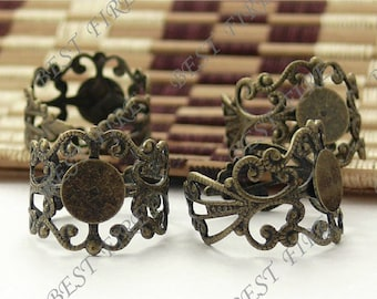 20pcs Antique Brass Pad Adjustable RING Base