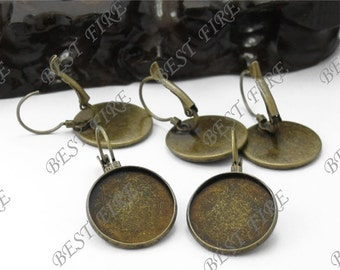 20pcs Antique Solid Brass French Earwires Hook With Round 12mm Pad