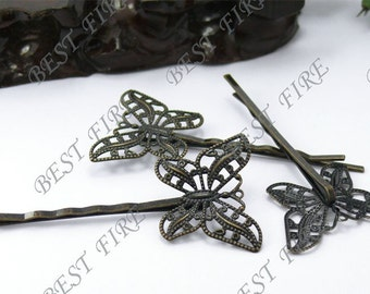 20pcs of Antique  Bronze bobby pins butterfly filigree pad 63 mm