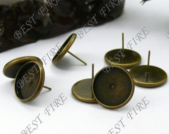 100pcs Antique Solid Brass Earring Posts With Round 14mm Pad