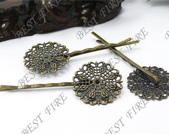 20pcs of Antique Brass bobby pins Round filigree pad 64 mm