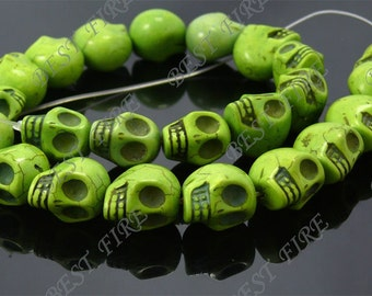 14x18mm Dyed Green Skeleton Turquoise Skull stone beads  Loose Strand 16IN