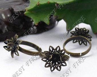 5pcs of  Adjustable Antique Brass Flower Ring Base