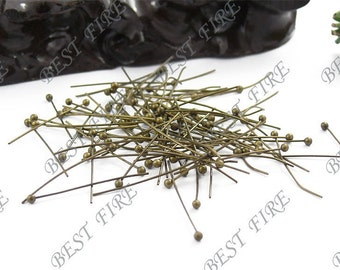 200 pcs of Antiqued Brass brass Ball end head pin 25mm
