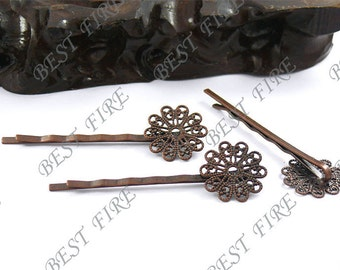 10pcs of Antique copper bobby pins Round filigree pad 55mm