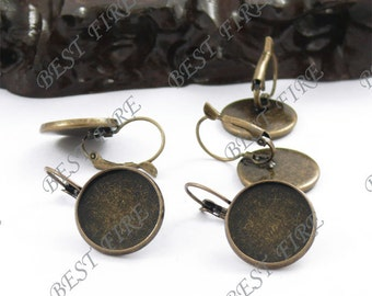 20pcs Antique Solid Brass French Earwires Hook With Round (Inside Diameter 16mm Pad)