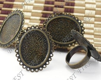 30pcs of  Adjustable Antique Brass round Ring Base 18x25mm