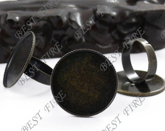 50 pcs Antique Brass Pad Open Adjustable RING Base Cabochon Size:25mm