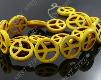 15mm Dyed yellow peace symbol Turquoise Loose beads full strand