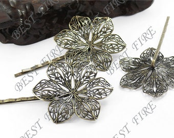 5pcs of Antique Bronze bobby pins flower filigree pad 69mm perfect