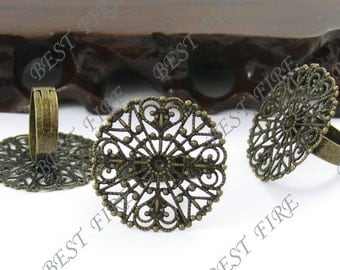 18 pcs Antique Brass Pad Open Adjustable  RING Base Round filigree