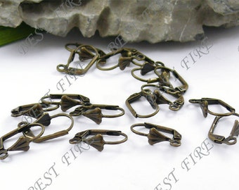 50 pcs of Antiqued brass leverback earwire with shell 9X16mm
