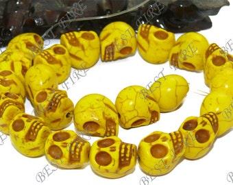 Carved Skeleton Dyed Yellow Turquoise Skull stone Beads 17mm full strand