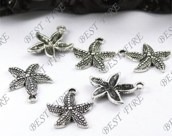 12 pcs of Tibetan silver  Lovely starfish drops Pendant 19x23mm