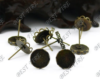 10pcs Antique Solid Brass Earring Posts With Round Cabochon size 14mm