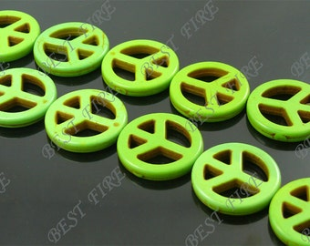 25mm Dyed green peace symbol Turquoise Loose beads full strand