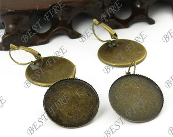 100pcs Antique Solid Brass French Earwires Hook With Round 25mm Pad