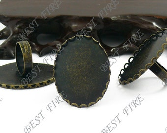 12 pcs Antique Brass Pad Open Adjustable Filigree RING Base Oval Cabochon Size:30x40mm
