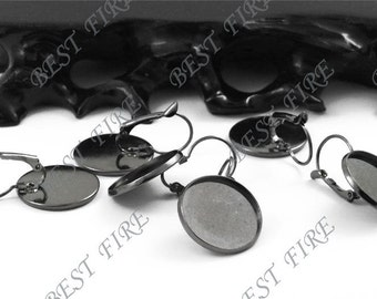 10pcs Gunmetal plated Brass French Earwires Hook With Round 12mm Pad