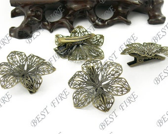 12 pcs of New style Antique Bronze bobby pins flower  filigree pad 42 mm
