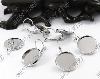 50pcs Platinum Tone French Earwires Hook With Round (Inside Diameter 18mm Pad)