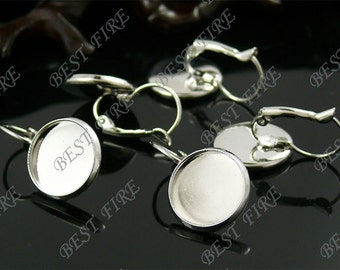 100pcs platina tone Brass French Earwires Hook With Round 14mm Pad,Earrings hook,earrings base