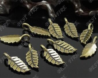 20pcs of  Antique brass charming leaf drop pendant,metal finding,drop leaf  bead 8x21mm