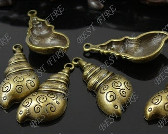 12pcs of  Antique brass charming sea snail drop pendant,metal finding,drop leaf  bead 14x30mm