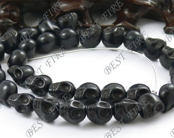 10x12mm Dyed Black Skeleton Turquoise Skull stone beads  Loose Strand,gemstone bead,loose bead 15.5INCH