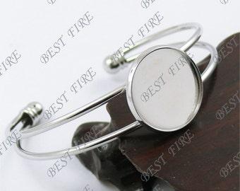10pcs of platinum tone Open  Adjustable bracelet Base round blank pad Cabochon size 20mm,bangle findings