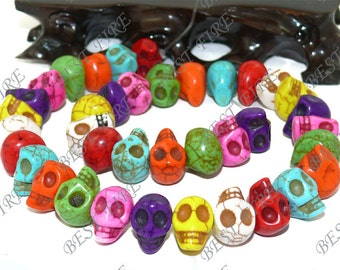 10x14mm Carved Skeleton Rainbow Mixd Turquoise Skull stone Beads,Loose strands beads