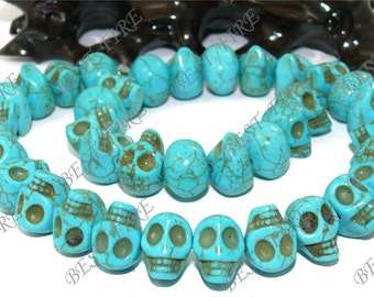 10x14mm Carved Skeleton Rainbow Blue Turquoise Skull stone Beads,Loose strands beads