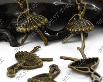 30PCS Of  20x36MM  Antique Bronze lovely Ballet Girls Charm Pendant,metal finding,pendant beads