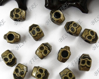 10PCS Of 8x12MM  Antique Bronze big hole Smile skull,metal finding,distance piece beads