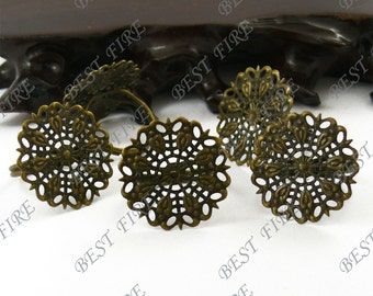 10pcs Antique Brass Open Adjustable RING Round Filigree Base Size 25mm,Ring Fingdings