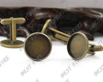 24pcs Antique Brass Pad  Round sleeve button Base  (Cabochon Size:16mm)