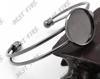 10pcs of Gunmetal plated Black Open  Adjustable bracelet Base round blank pad Cabochon size 20mm,bangle findings