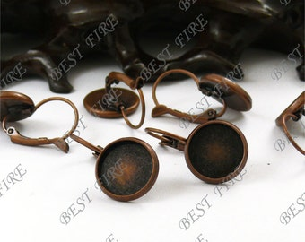 20pcs Antique Copper Solid Brass French Earwires Hook With Round 12mm Pad